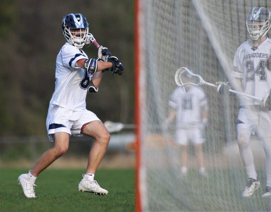 Maclay junior Matthew Winegardner prepares to take a shot on goal as the Marauders beat Leon 15-5 on their annual Military Appreciation Night on March 12, 2019.
