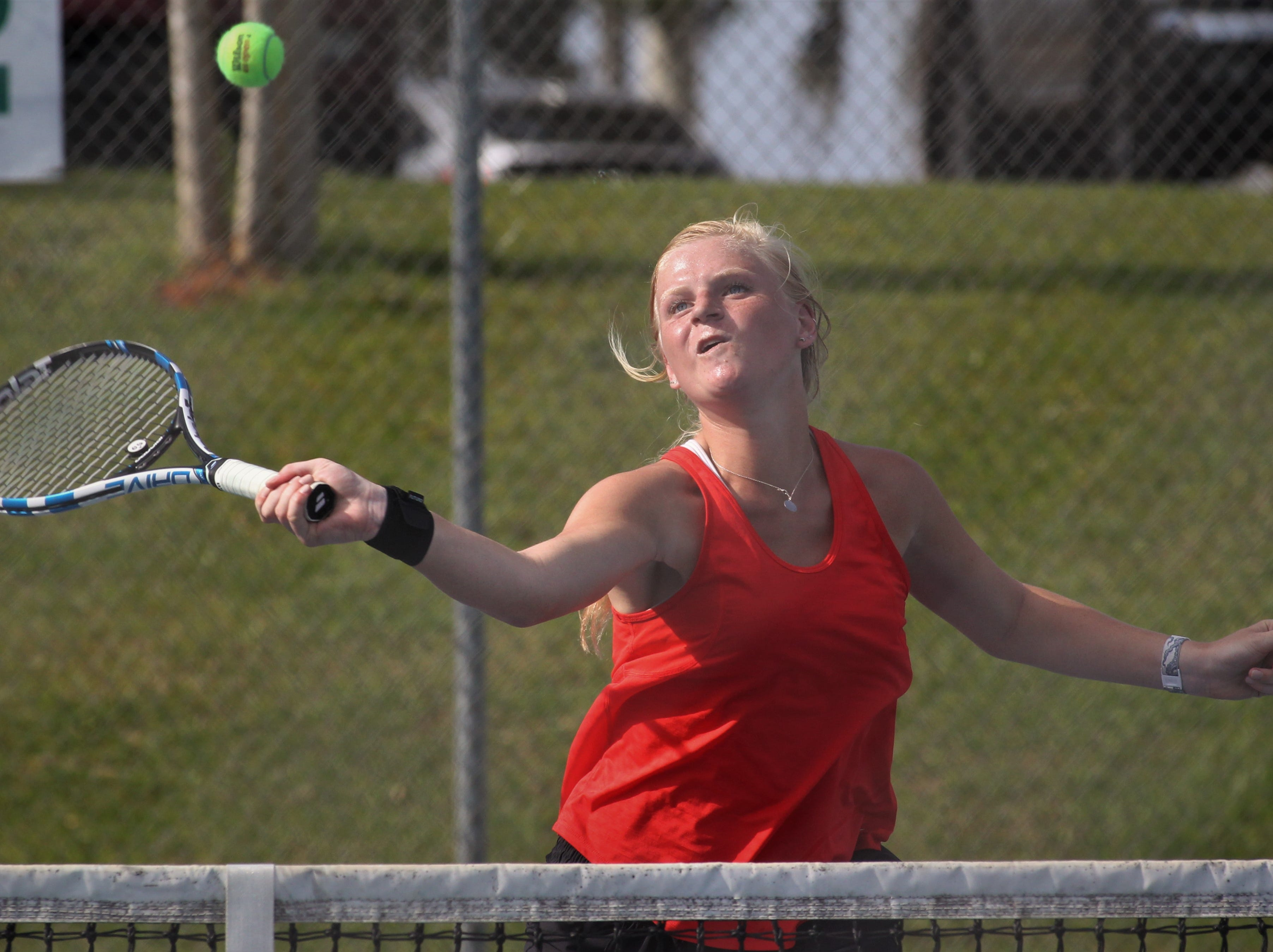 Leon senior Jules Grady plays during the boys and girls tennis city tournament at Tom Brown Park on March 13, 2019.