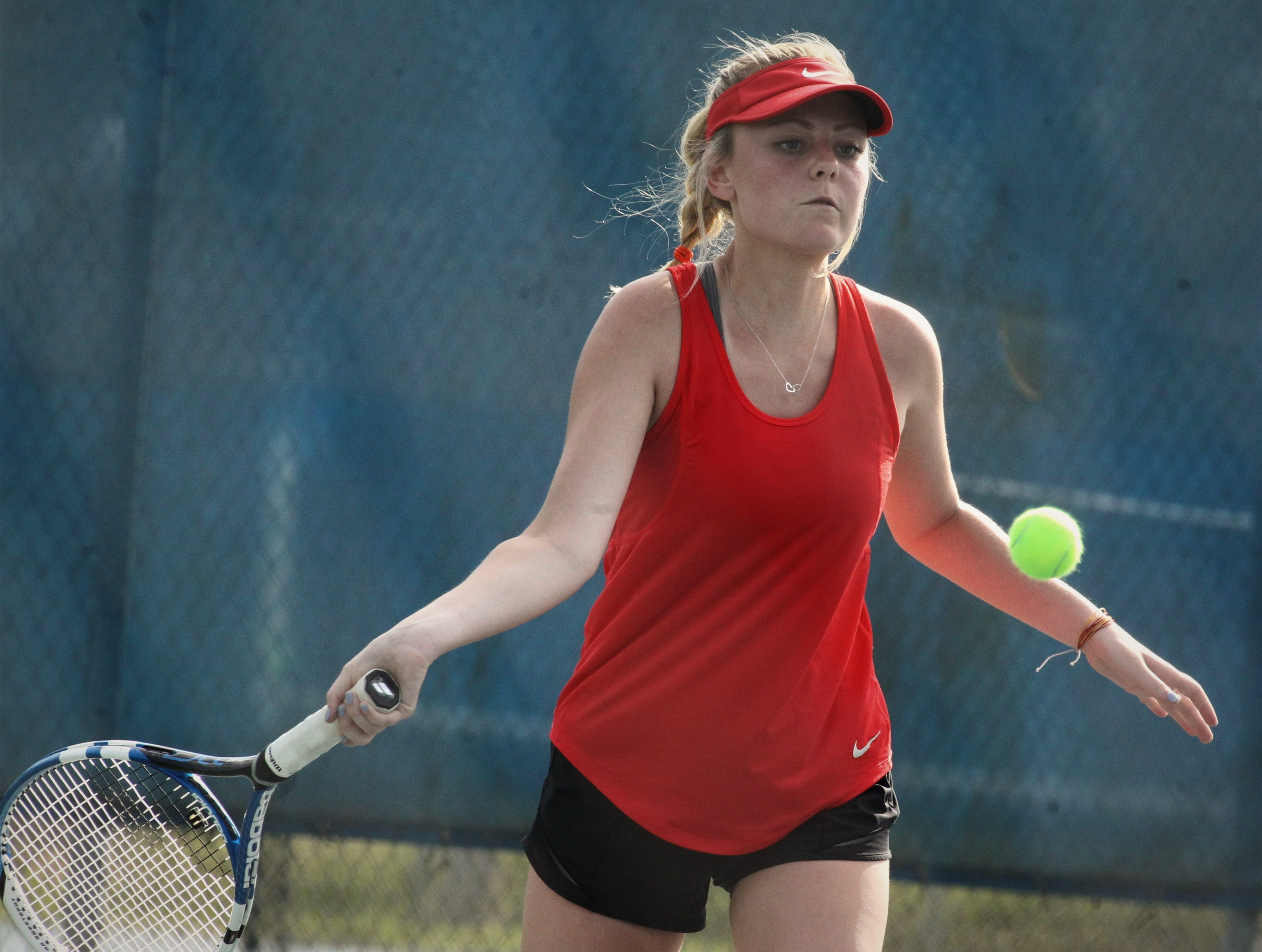 Leon senior Abby Birkmeier plays during the boys and girls tennis city tournament at Tom Brown Park on March 13, 2019.