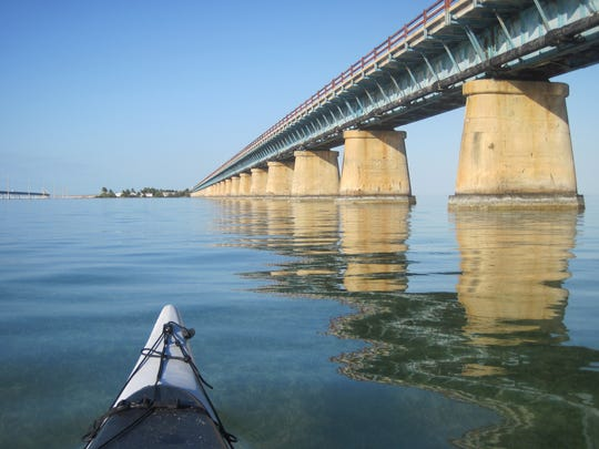 Paddling the Seven Mile Bridge on Circumnavigational Trail.