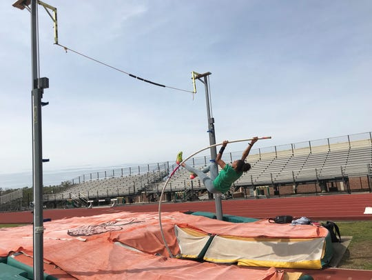 Jazmyn Dennis practices the pole vault. The FAMU sophomore will compete in this event at the NCAA prelims in Jacksonville on May 24, 2019. Dennis currently owns the school and MEAC record in the event with a jump of 4.02 meters.