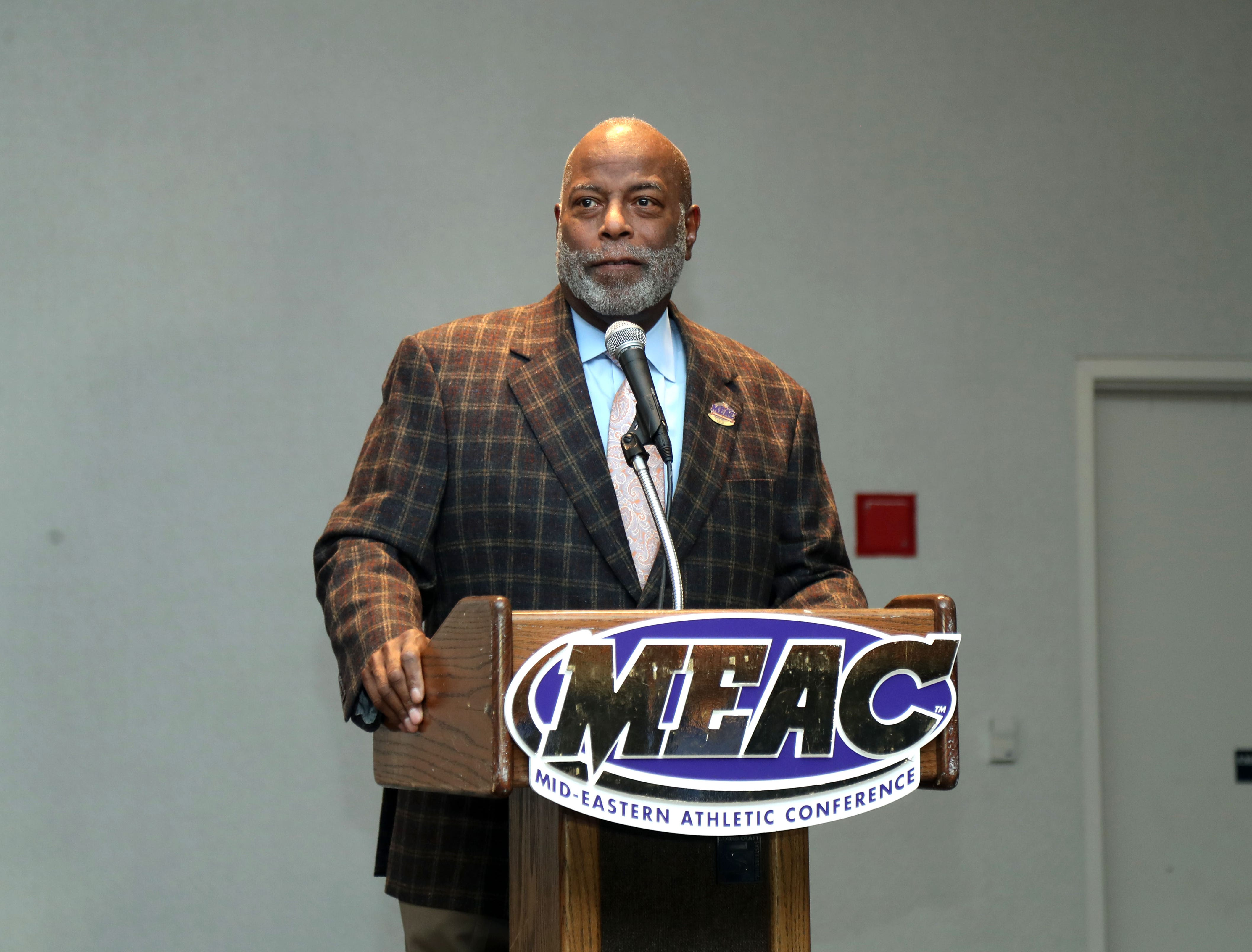 MEAC commissioner Dr. Dennis E. Thomas addresses the auidence during the Hall of Fame enshrinement on March 14, 2019 at the Sheraton Norfolk Waterside Hotel in Norfolk, Virginia.