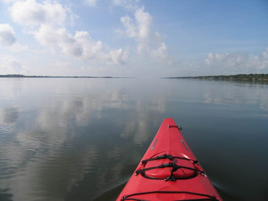 Paddling the Indian River Lagoon near Cocoa, segment 22, of the round-the-state saltwater trail.