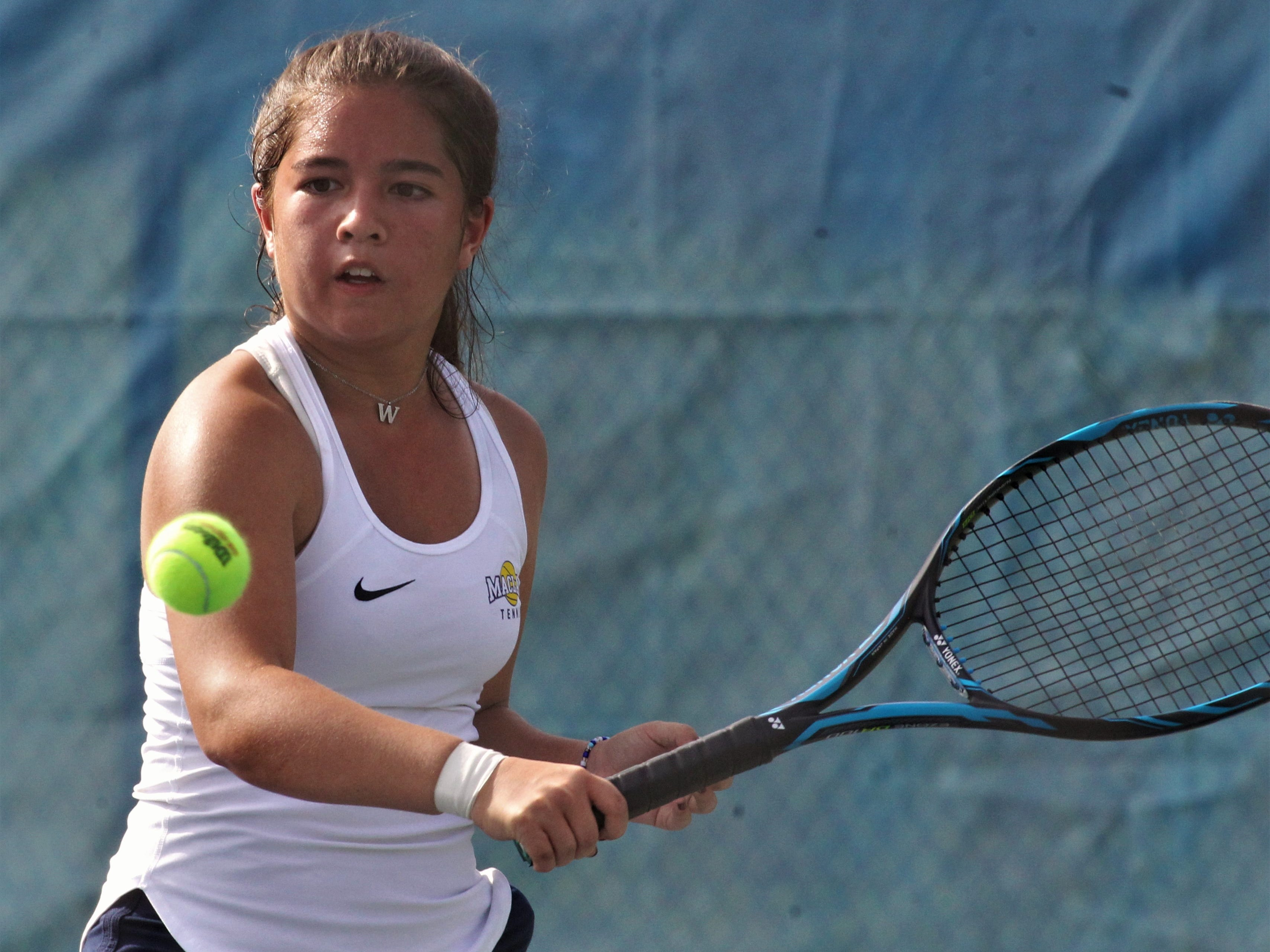 Maclay's Bella Snider plays during the boys and girls tennis city tournament at Tom Brown Park on March 13, 2019.
