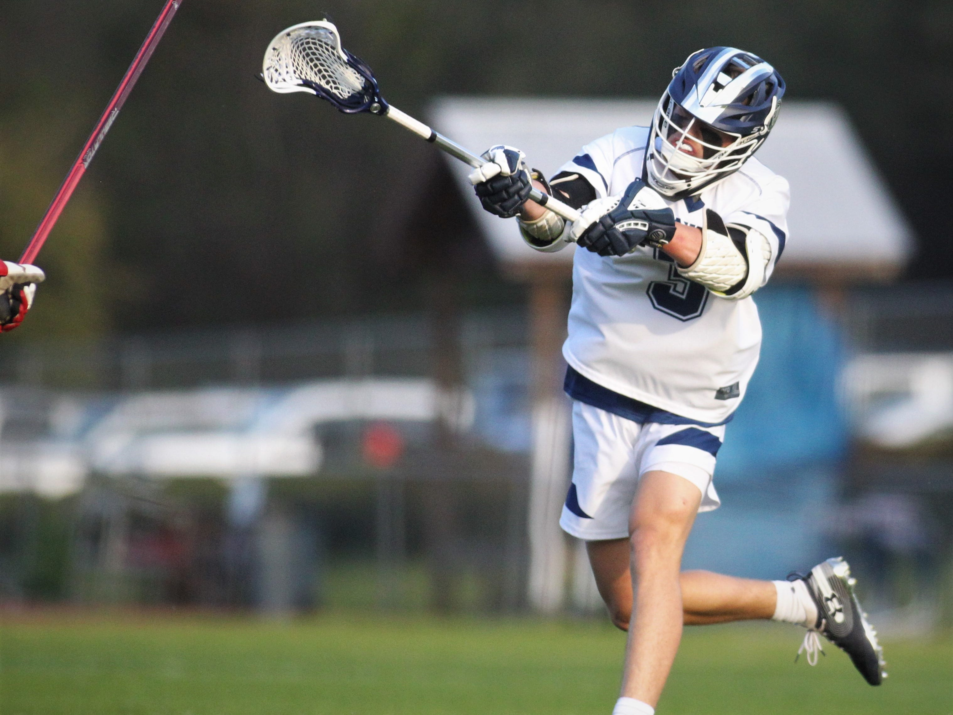 Maclay freshman Carson Rowe takes a shot on goal as the Marauders beat Leon 15-5 on their annual Military Appreciation Night on March 12, 2019.