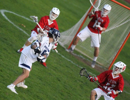 Maclay junior Matthew Winegardner takes a shot on goal as the Marauders beat Leon 15-5 on their annual Military Appreciation Night on March 12, 2019.