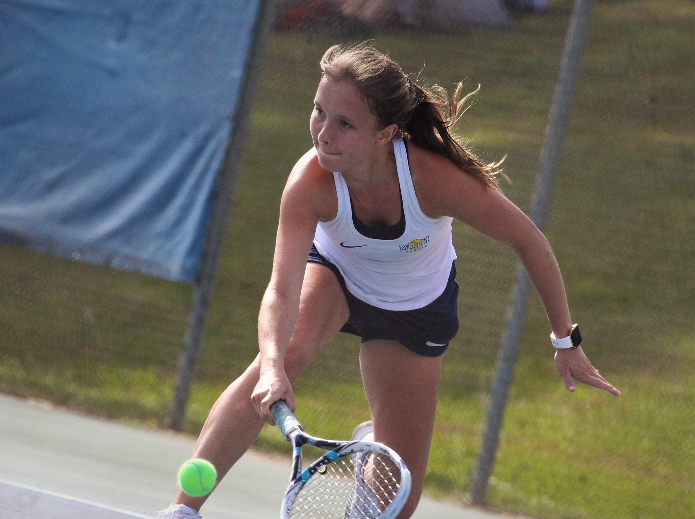 Maclay junior Rachael Stockel plays during the boys and girls tennis city tournament at Tom Brown Park on March 13, 2019.