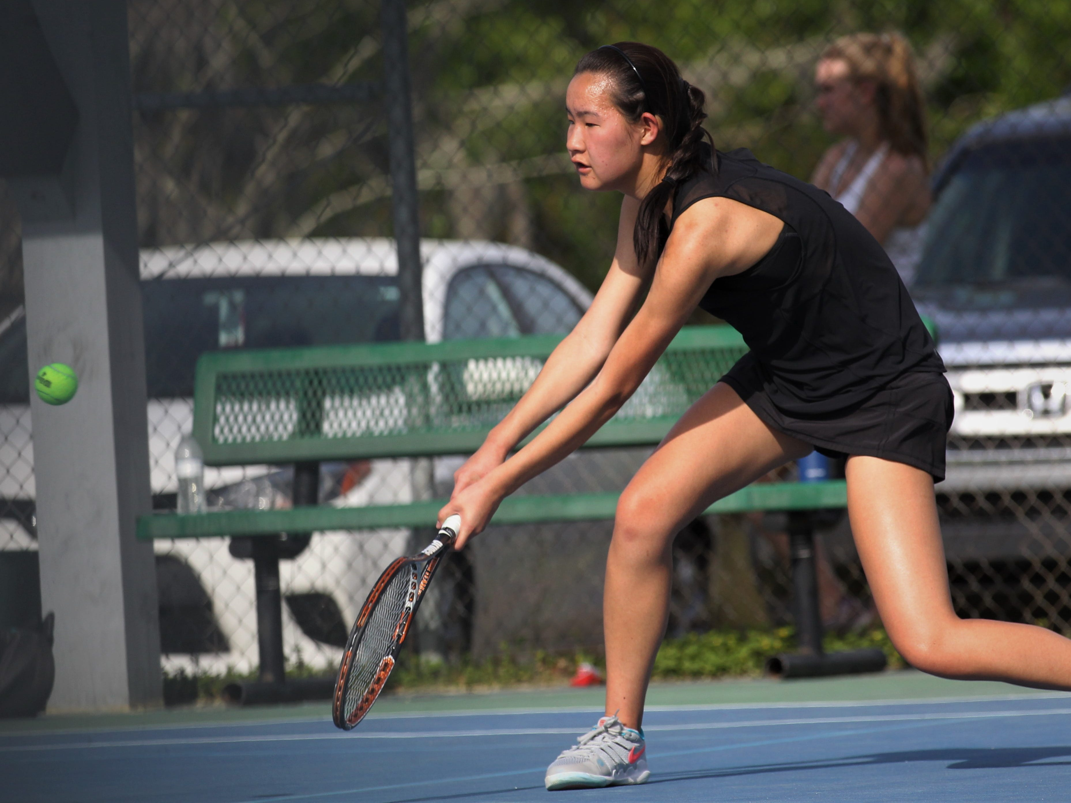 Chiles senior Amy Xia plays during the boys and girls tennis city tournament at Tom Brown Park on March 13, 2019.