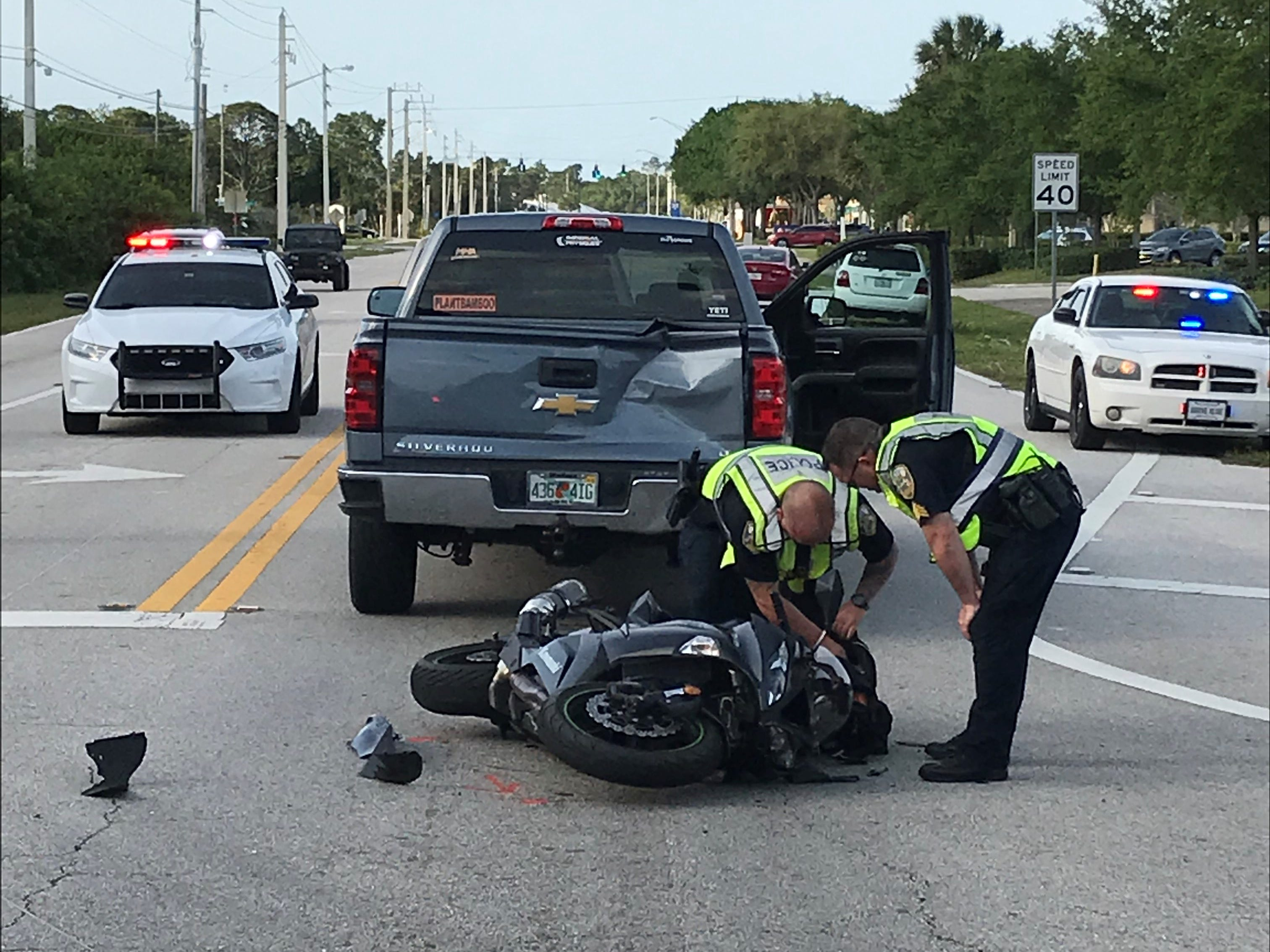 Port St. Lucie police work the scene of a crash that left a man with serious injuries Wednesday, March 13, 2019, at Southwest Tunis Avenue and Southwest Port St. Lucie Boulevard.