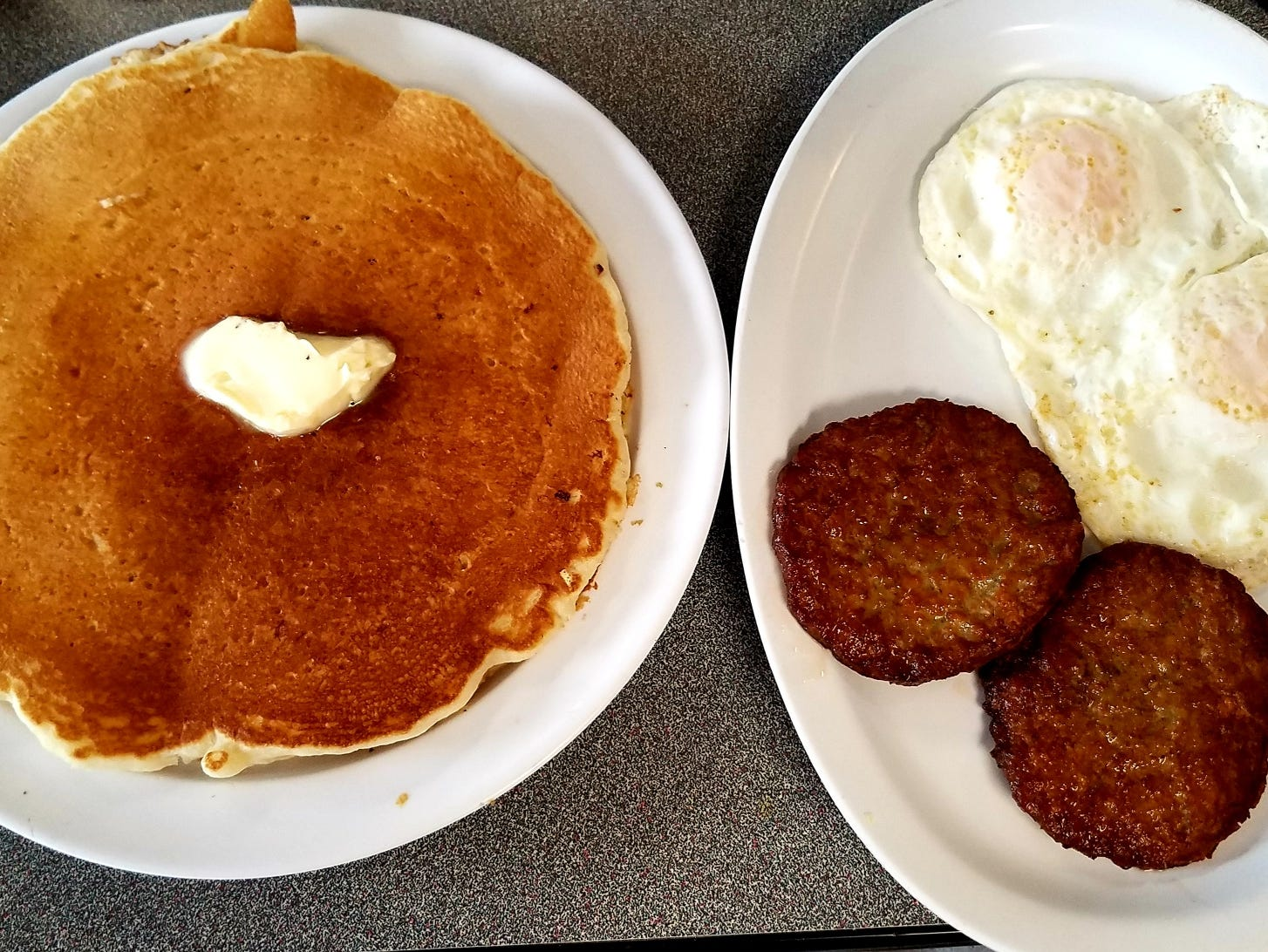 The Big Boy Platter comes with 2 pancakes or French toast, 2 eggs your way, and choice of meat.