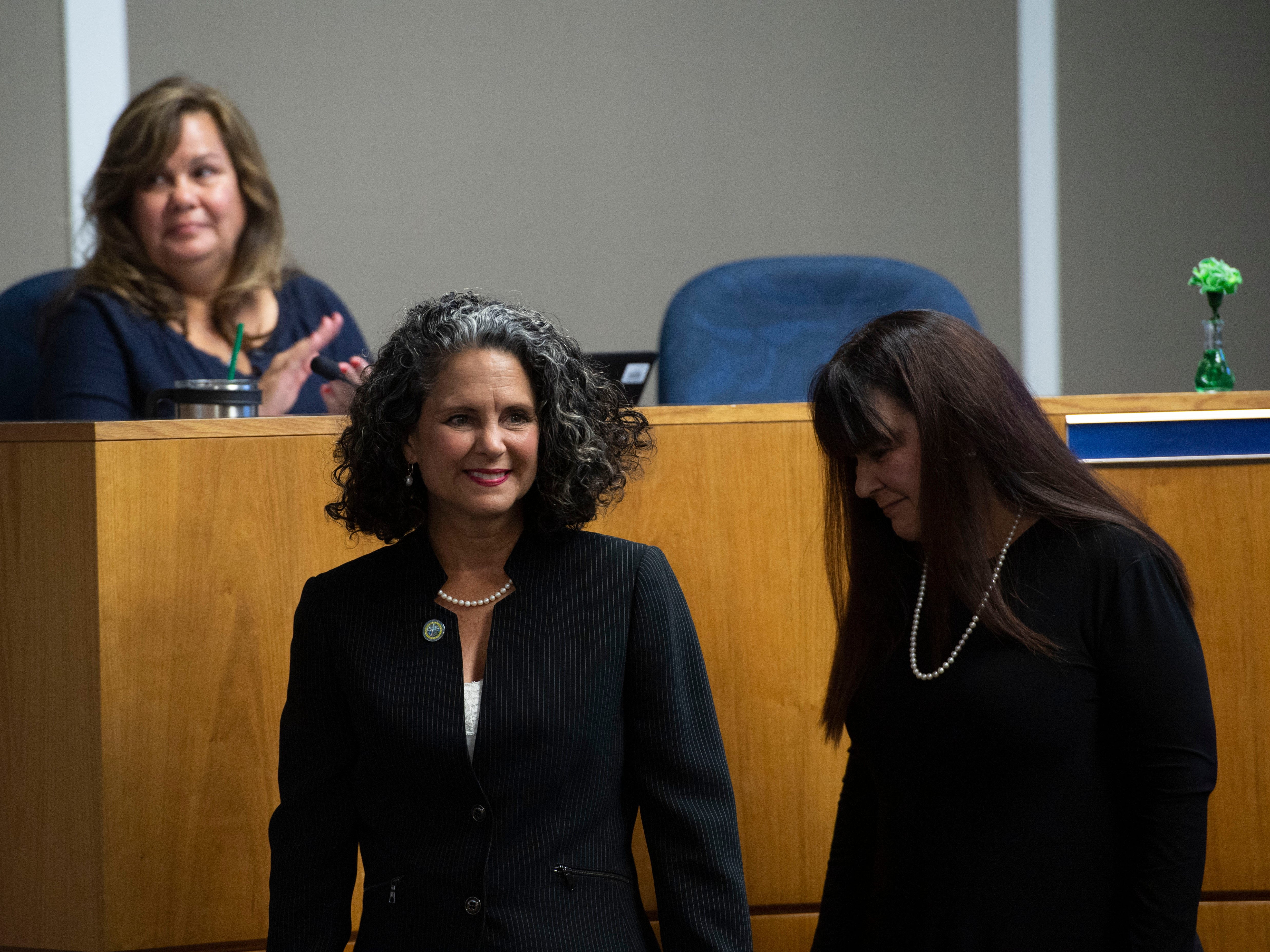 Jacqui Thurlow-Lippisch, of Sewall's Point, and Drew Bartlett were among those taking on new roles on the South Florida Water Management District governing board at the district's monthly meeting March 14, 2019, at the district offices in West Palm Beach. Following the swearing in of Gov. Ron DeSantis' handpicked seven new board members, including Thurlow-Lippish, Bartlett was chosen as the water management district's new executive director, beginning April 1. Two open board seats remain.