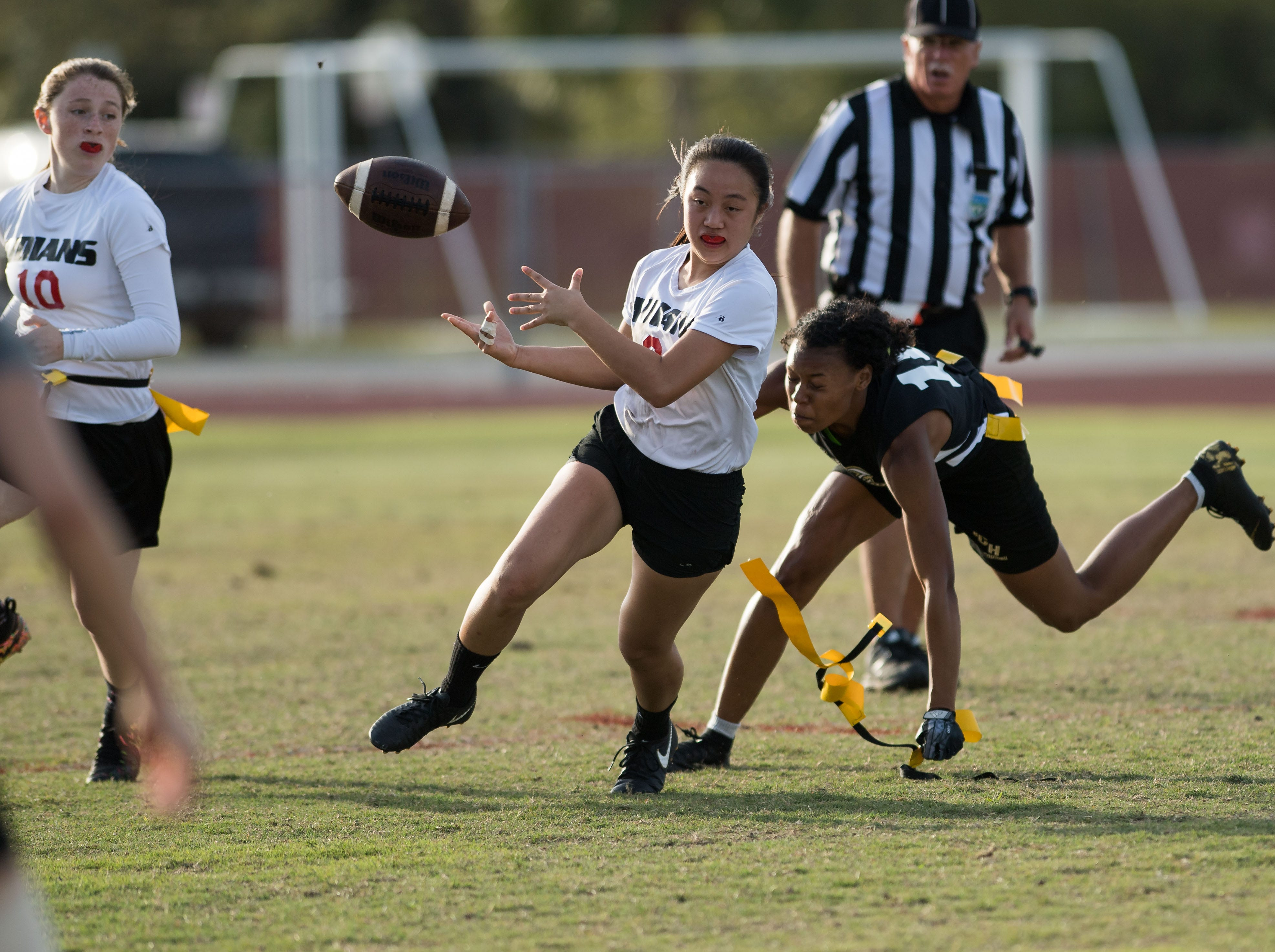 Treasure Coast plays against Vero Beach during the high school flag football game Wednesday, March 13, 2019, at Vero Beach High School.