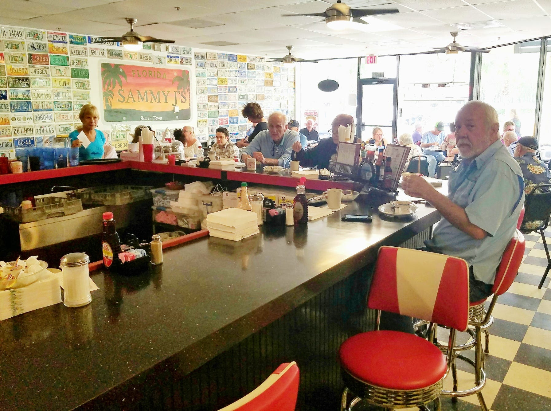 The counter at Sammy J's is a lively interactive place to enjoy your meal.