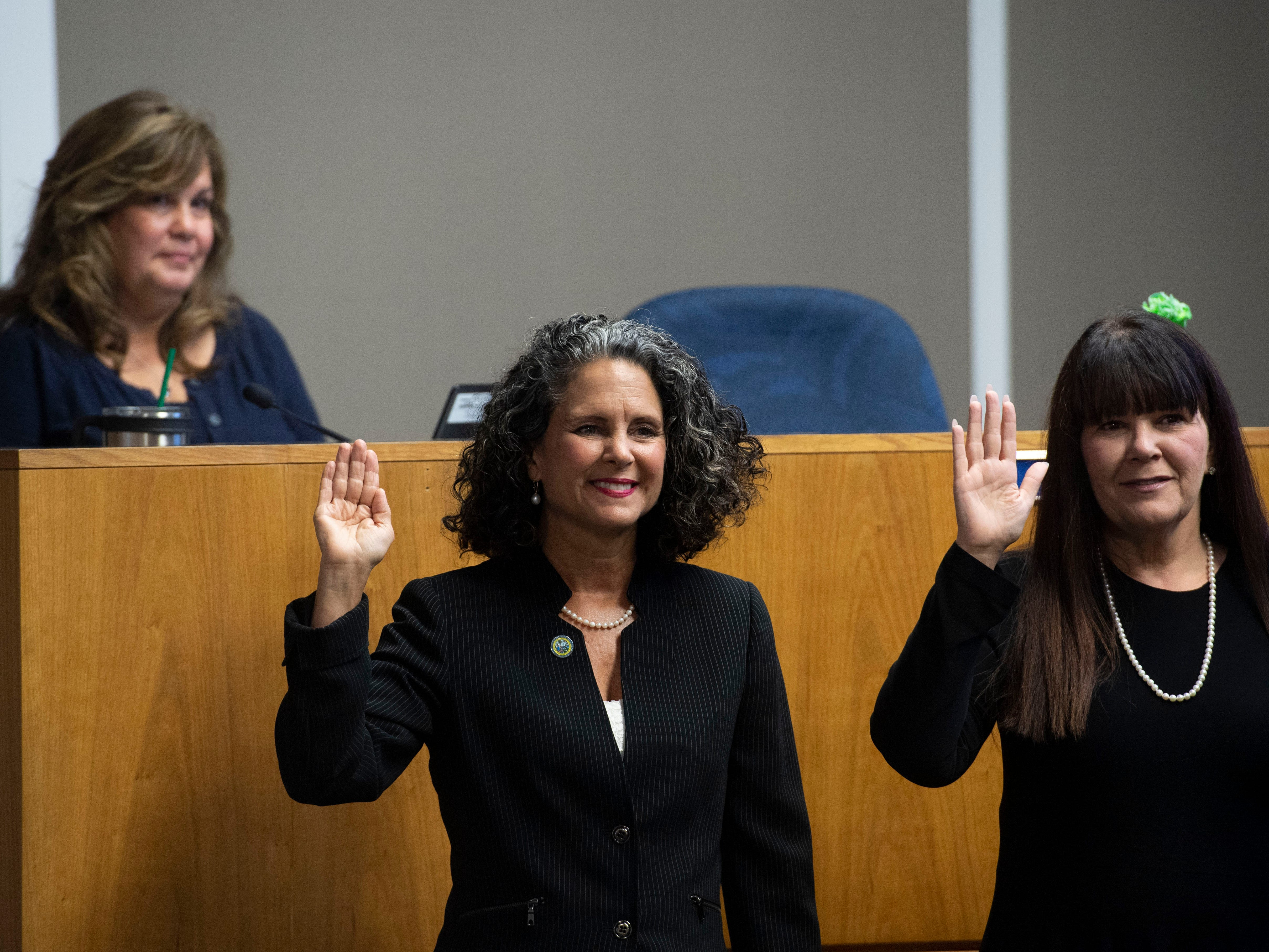 Jacqui Thurlow-Lippisch (left) and Cheryl Meads are amongst the several new members of the South Florida Water Management District board taking the oath of office Thursday, March 14, 2019, at the board offices in West Palm Beach. Gov. Ron DeSantis appointed Thurlow-Lippish, a SewallÕs Point resident, last month during a news conference at the Florida Oceanographic Coastal Center.