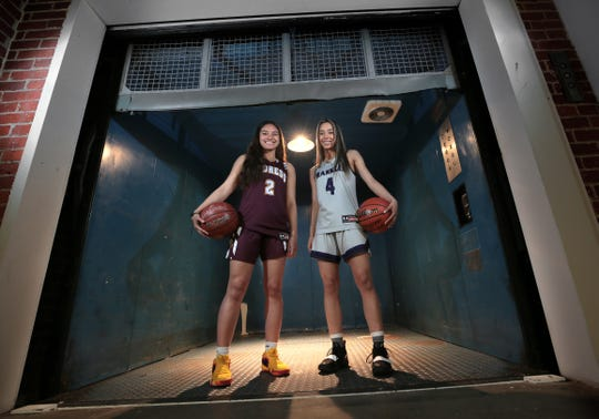The 2018-2019 girl's basketball co-MVPs are Hannah Cooper of Andress and Katia Gallegos from Franklin.