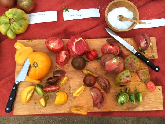 Tomatomania! test gardens in Ventura and Santa Barbara counties produced a rainbow's worth of fruit for a summer-tomato tasting party at a private home.