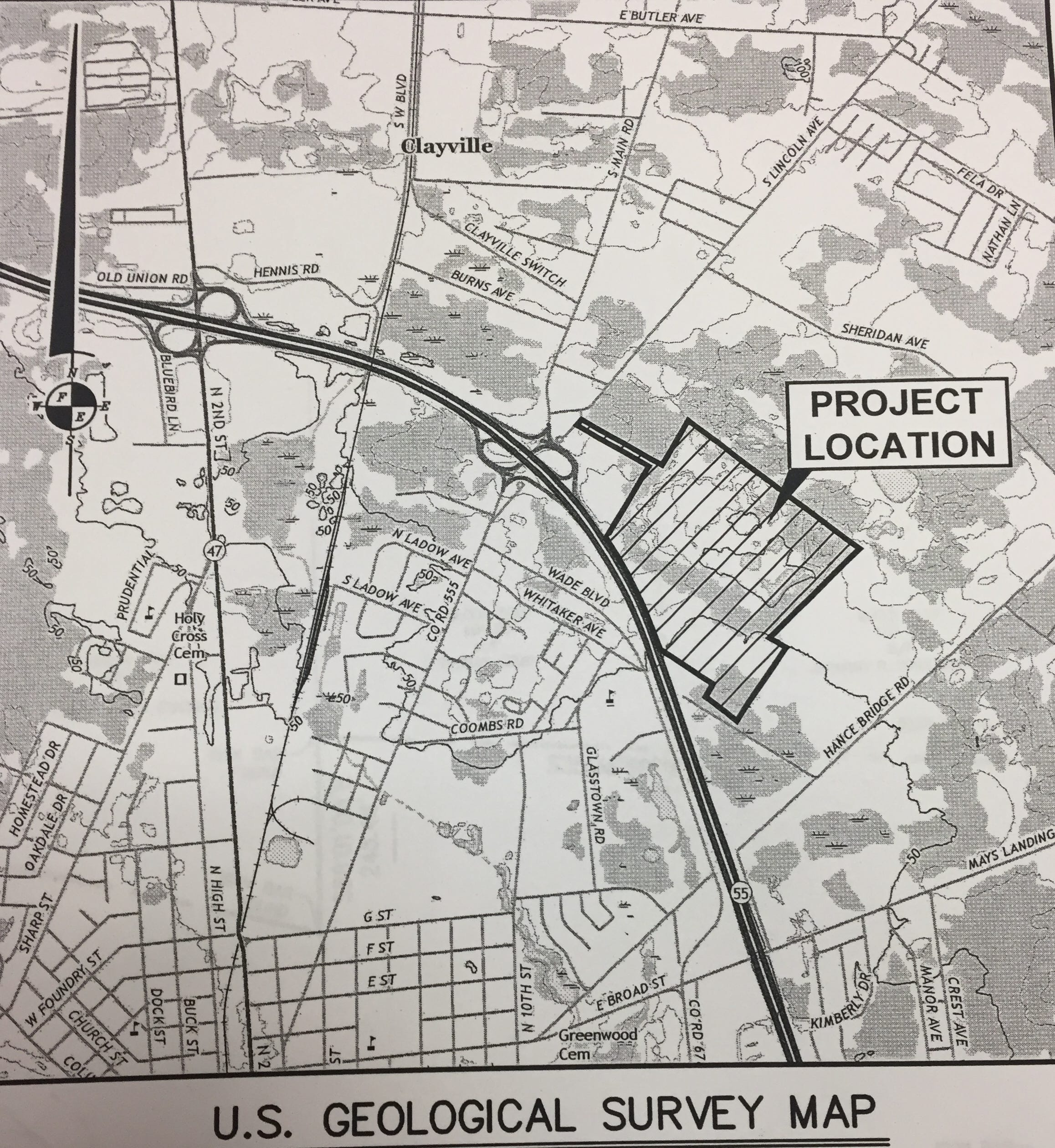 A U.S. Geologic Survey Map shows the site of a now-approved industrial park proposed by Northeast Precast off South Lincoln Avenue in Vineland.