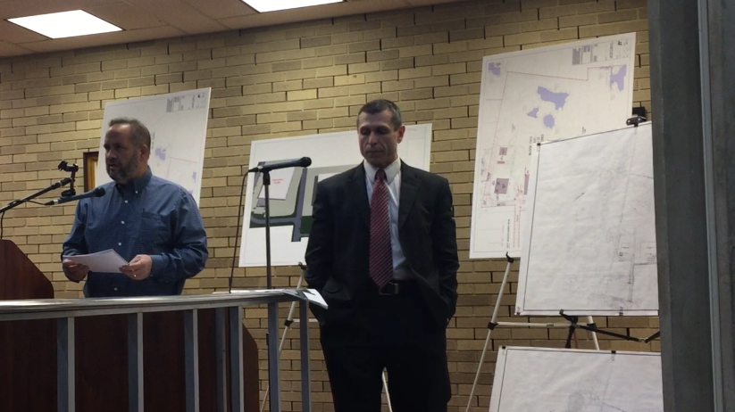 Northeast Precast owner John Ruga (left), flanked by attorney Michael Fralinger, testified Wednesday night to the Vineland Planning Board about his industrial park project for South Vineland.