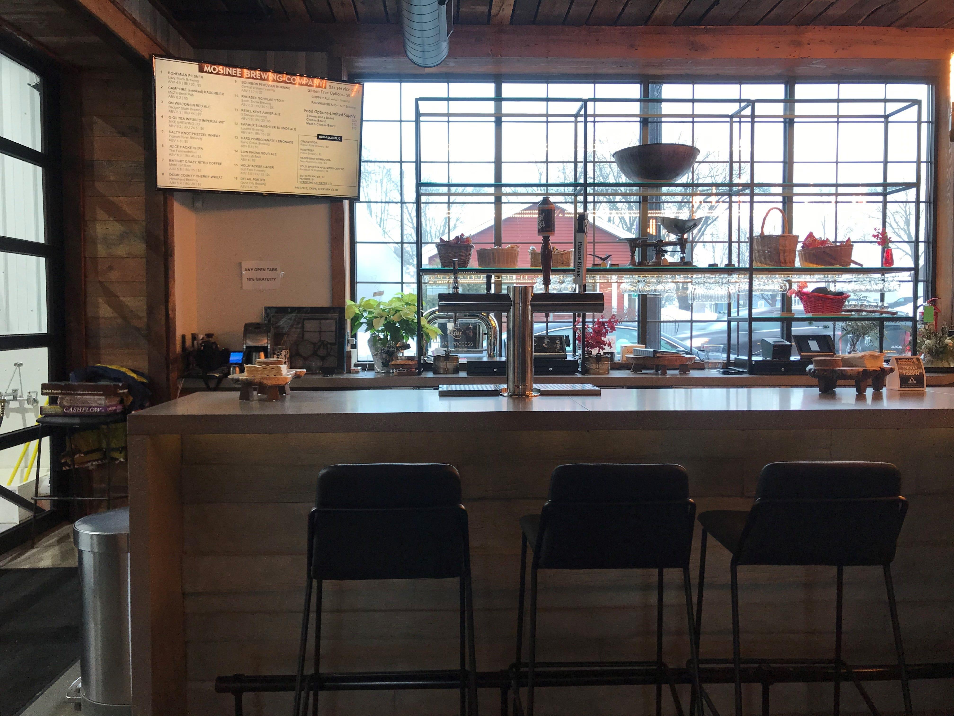 Behind the bar at Mosinee Brewing Company.