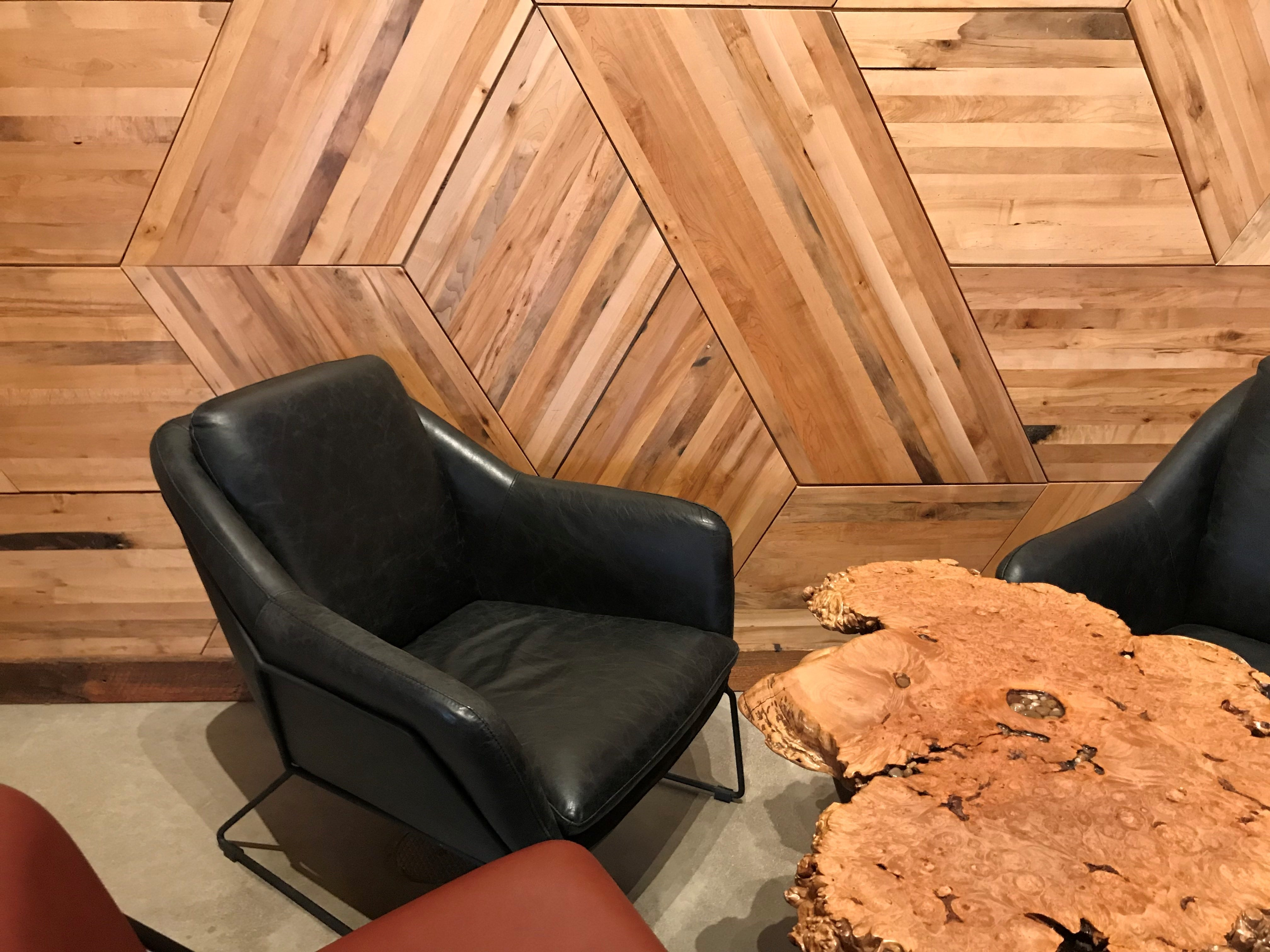 The wood paneling on the wall at Mosinee Brewing Company is reclaimed from the historic building's past as a general store and I.G.A. store, or independent grocers' association.