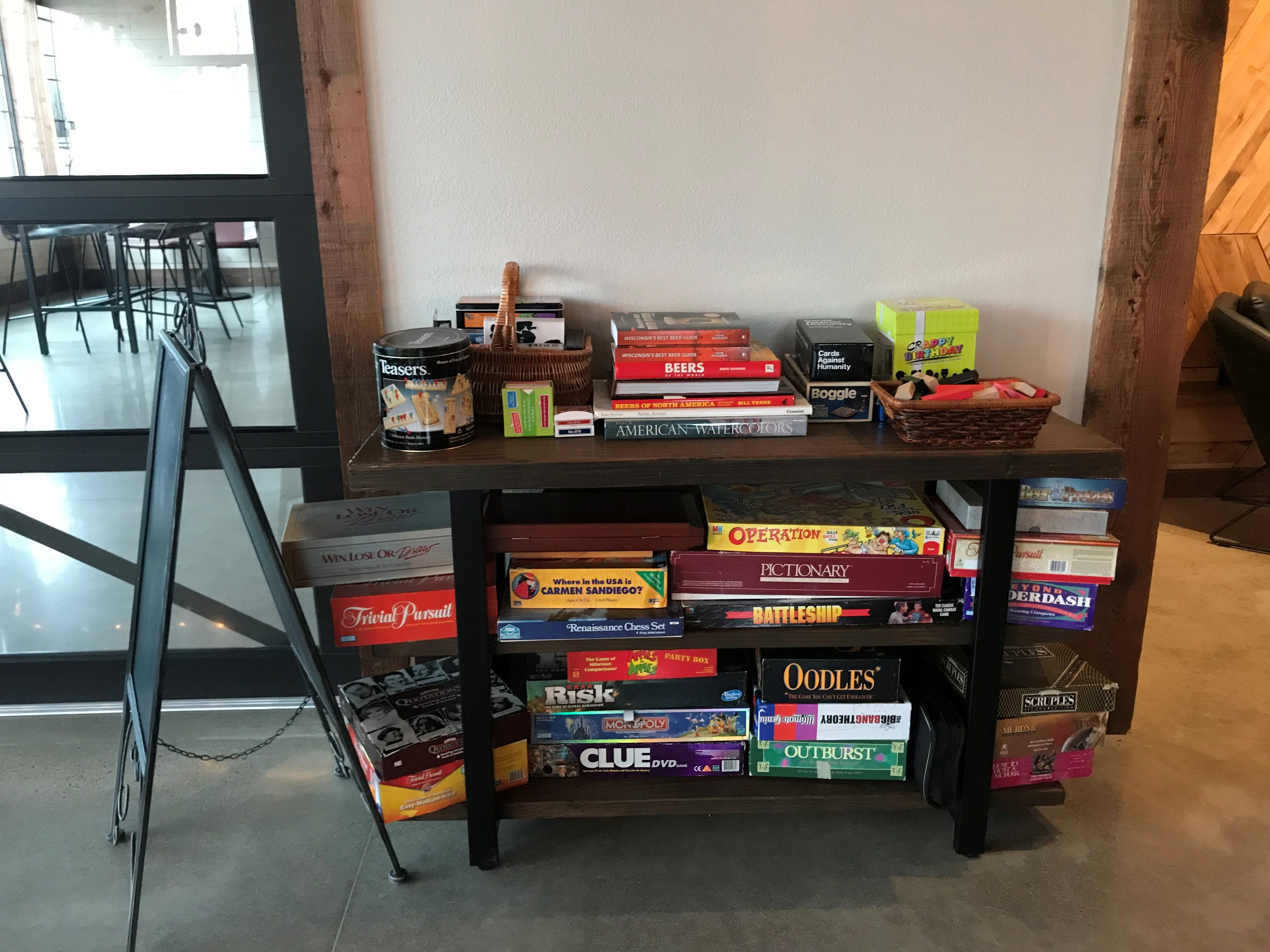 Board games are available to play at Mosinee Brewing Company. The brewery has hosted game nights in the past and will likely do more in the future.