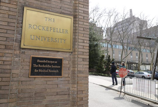 The exterior grounds and buildings of Rockefeller University on York Avenue in New York, March 14, 2019.