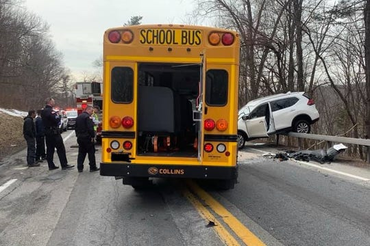 A school bus and an SUV crashed on the Bear Mountain State Parkway in Peekskill on March 13, 2019.