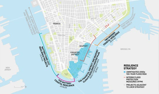 New York City announced plans Thursday, March 14, 2019, to extend portions of lower Manhattan to address climate change