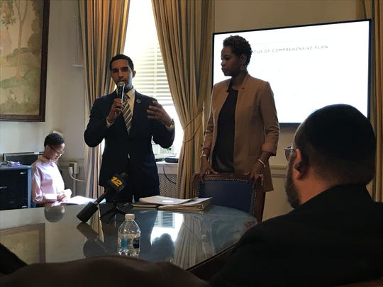 Mount Vernon Mayor Richard Thomas, along with the city's Planning Commissioner Chantelle Okarter, hold a meeting with developers and other stakeholders on the impending Con Edison's natural gas moratorium.