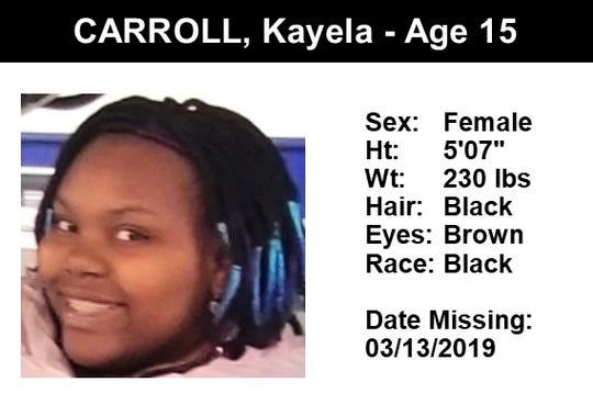 Kayela Carroll, 15, was reported missing after last being seen in Yonkers on March 13, 2019.