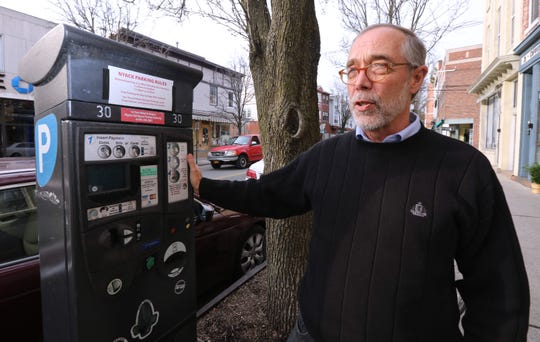 Nyack Mayor Don Hammond with a parking station on Broadway March 14, 2019. New meters are coming that don't require you to put a receipt on your dashboard.