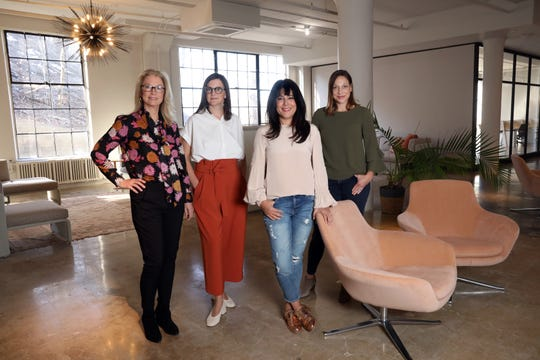 HudCo co-founders from left, Judy Haddad, Christy Knell, Christina Cohen and Katherine Bagby, in their offices in Dobbs Ferry, March 13, 2019. HudCo is a co-working space that blends work, life and well-being.