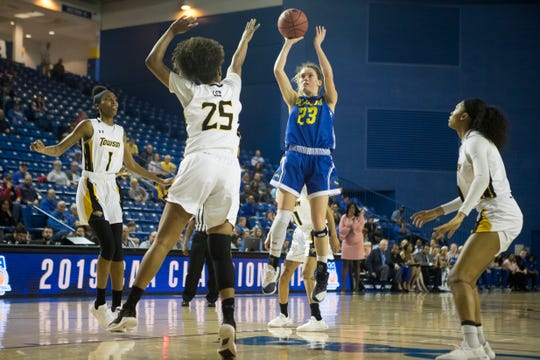 Delaware's Bailey Kargo (23) shoots a jumper during their CAA matchup against Towson Thursday afternoon at the Bob Carpenter Center.
