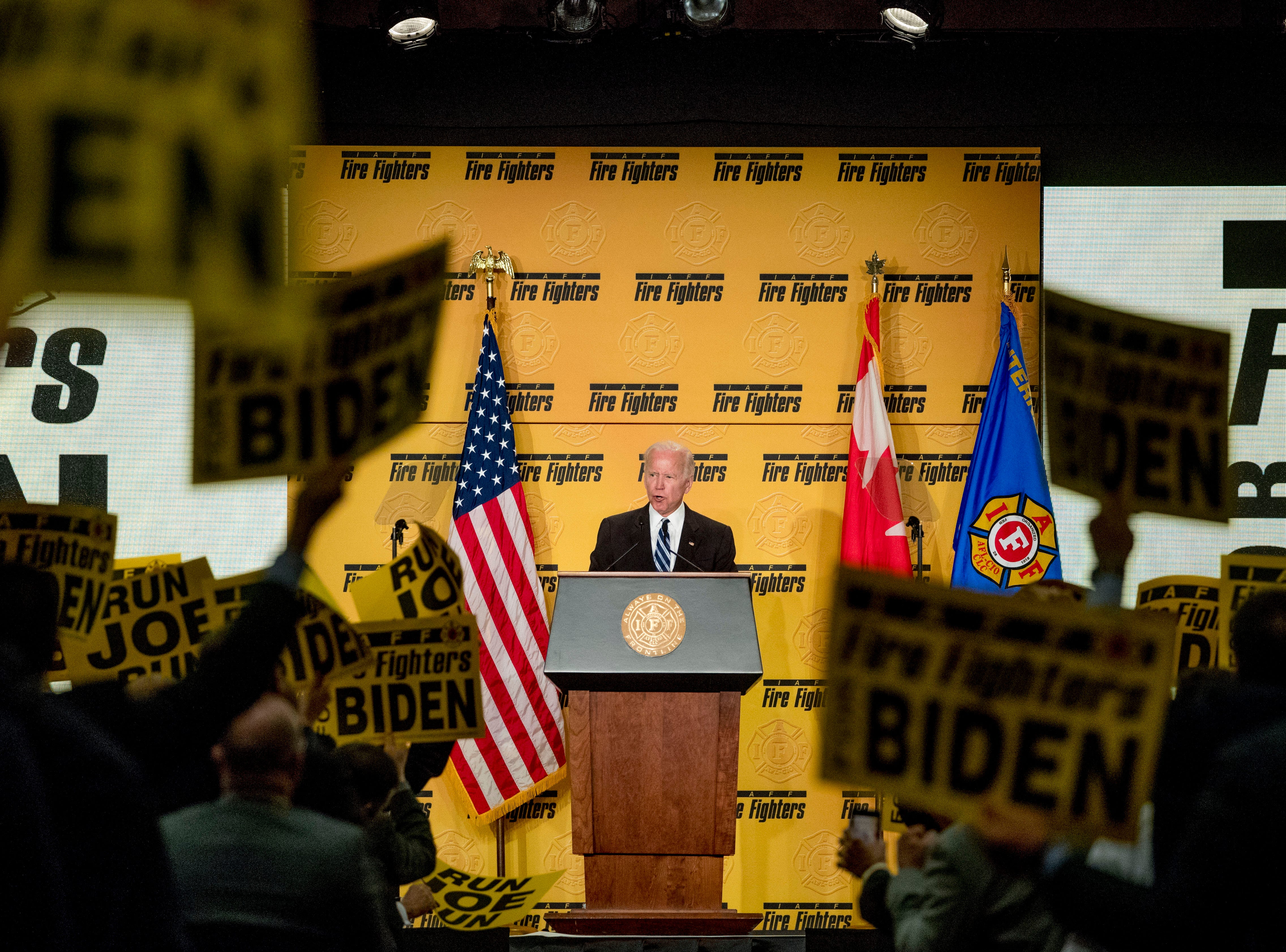 Former Vice President Joe Biden speaks to the International Association of Firefighters at the Hyatt Regency on Capitol Hill in Washington, Tuesday, March 12, 2019, amid growing expectations he'll soon announce he's running for president. (AP Photo/Andrew Harnik)