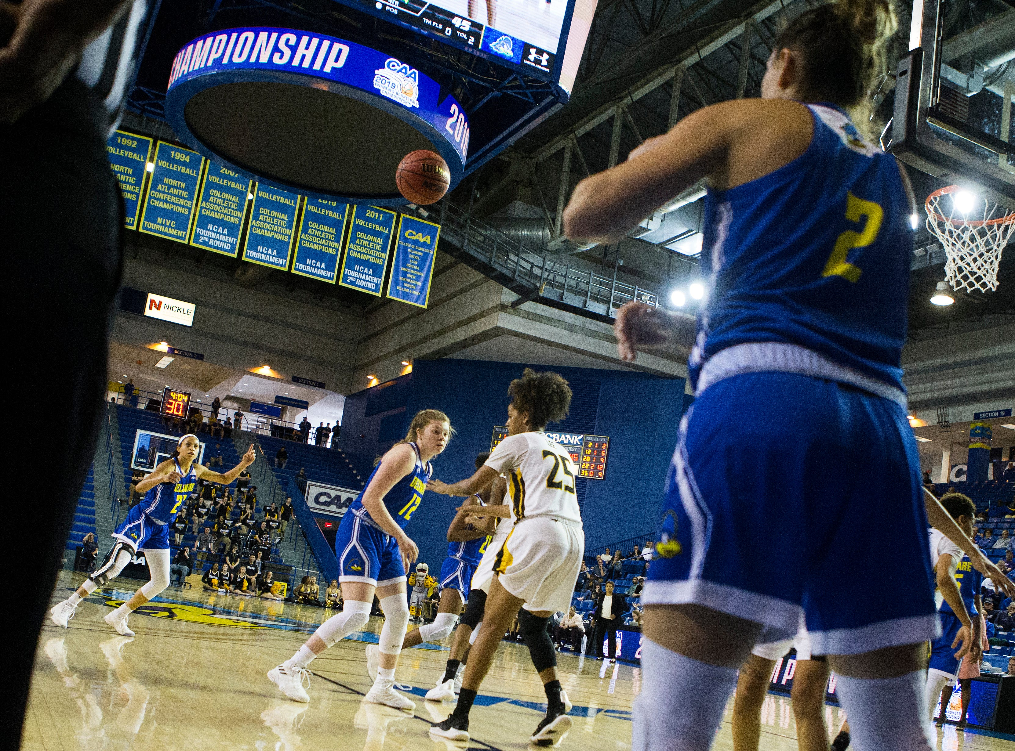 Delaware's Samone DeFreese (22) calls out for an inbound pass Thursday against Towson in the CAA quarterfinals. Towson defeated Delaware 59-49.