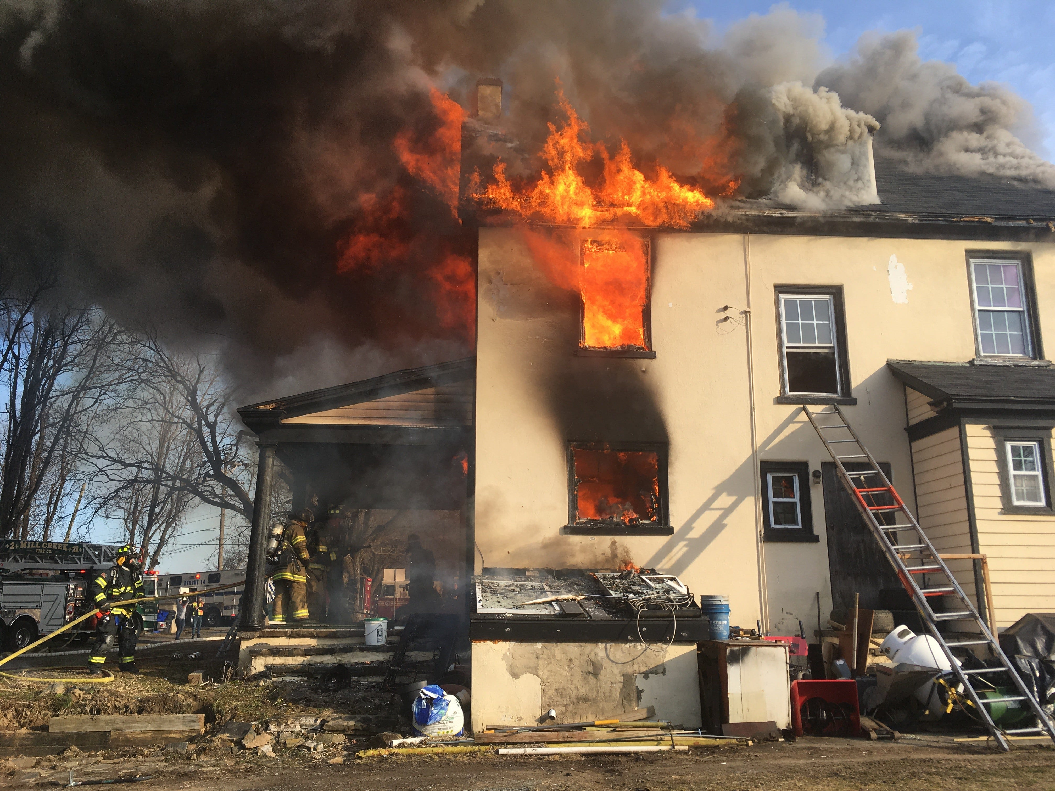 A home has been engulfed by flame on Mill Creek Road in Milltown.