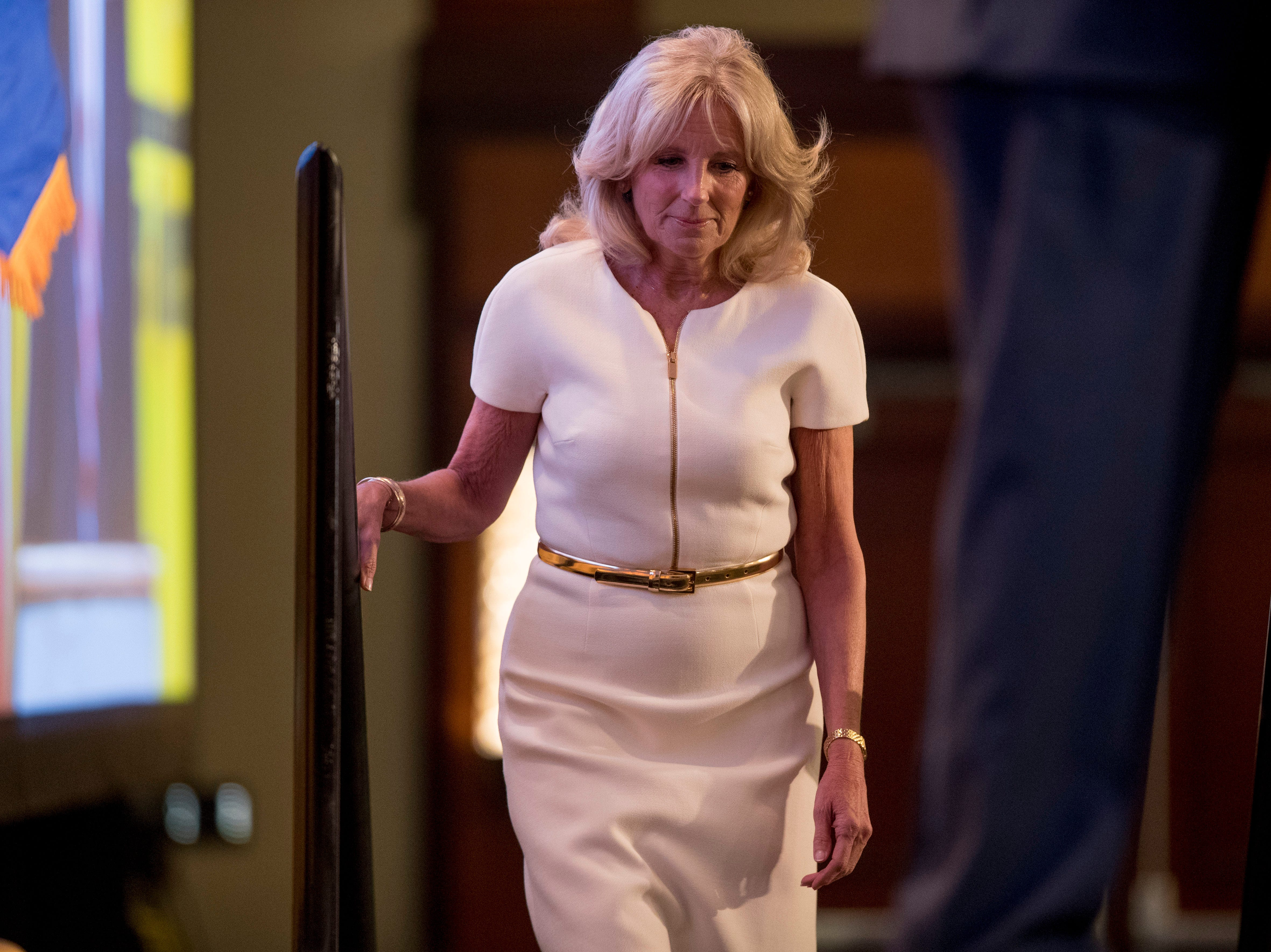 Former Second Lady of the United States Jill Biden takes the stage before former Vice President Joe Biden speaks to the International Association of Firefighters at the Hyatt Regency on Capitol Hill in Washington, Tuesday, March 12, 2019, amid growing expectations he'll soon announce he's running for president. (AP Photo/Andrew Harnik)