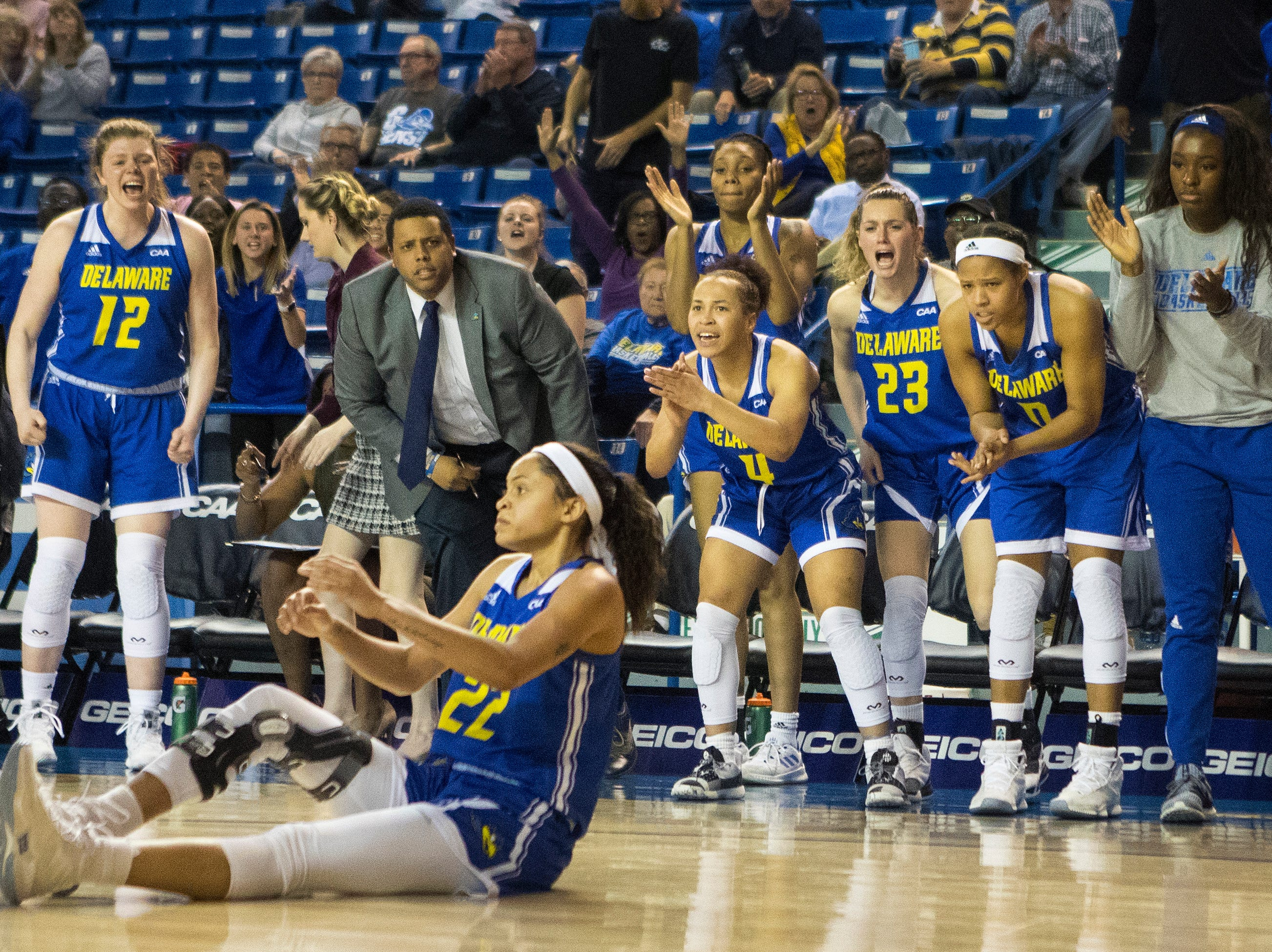 The Delaware bench react to a ref's call in their favor Thursday in the CAA quarterfinals against Towson. Towson defeated Delaware 59-49.