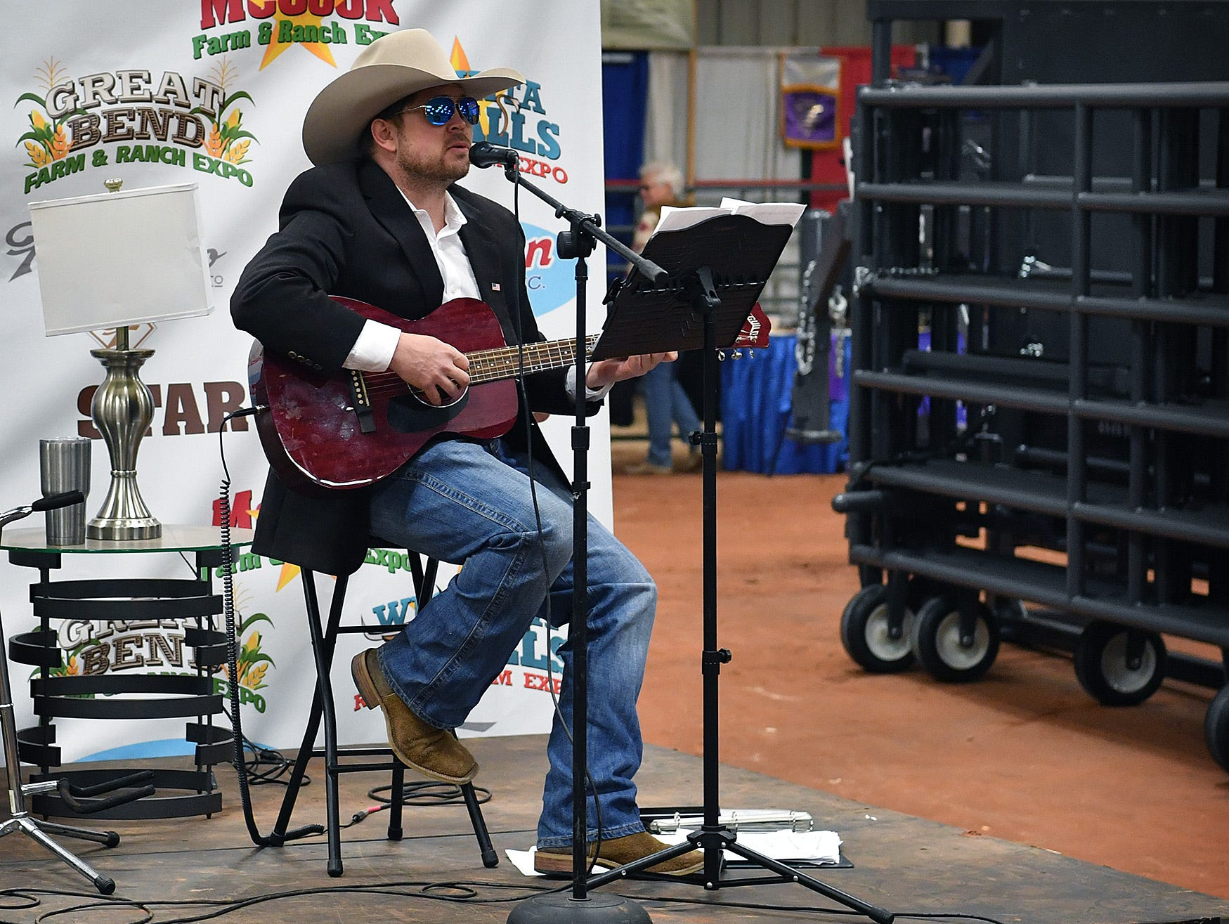 Jared Slagle provided the musical entertainment Thursday at the Wichita Falls Ranch and Farm Expo at the Bridwell Ag Center.