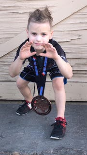 Jonah Flores finished third in his weight class in the Tots Division of the Texas Open State Championship Tournament