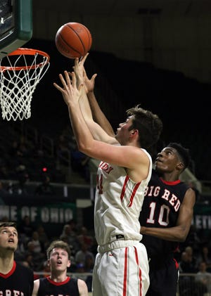 Sheridan's Grant Heilman puts up a shot against Steubenville in the Division II regional semifinals Wednesday in Athens.