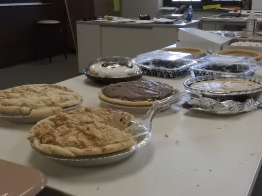 Dozens of pies, of all different flavors, were donated for Pi Day at East Muskingum Middle School.