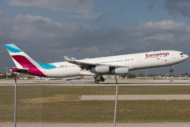 In this file photo, a Eurowings Airbus A340-300 lands at Miami International Airport in February, 2019.