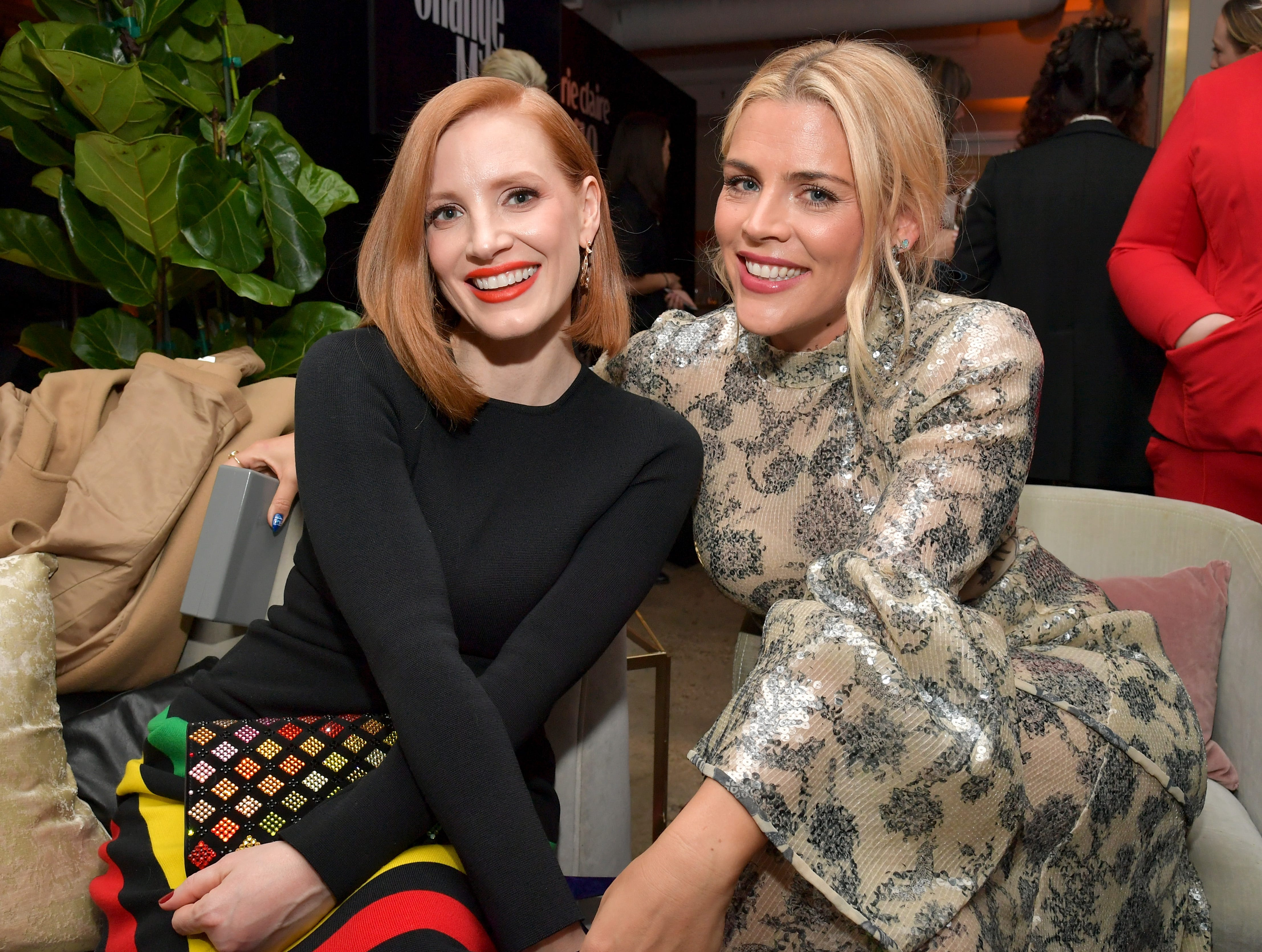 LOS ANGELES, CA - MARCH 12:  Jessica Chastain and Busy Philipps are seen as Marie Claire honors Hollywood's Change Makers on March 12, 2019 in Los Angeles, California.  (Photo by Amy Sussman/Getty Images for Marie Claire) ORG XMIT: 775306367 ORIG FILE ID: 1130157928