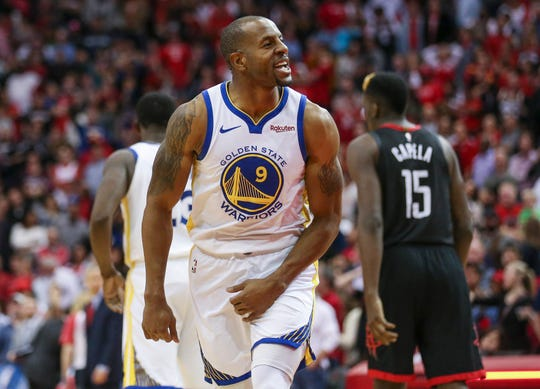 Golden State Warriors guard Andre Iguodala reacts after the Warriors defeated the Houston Rockets at Toyota Center.