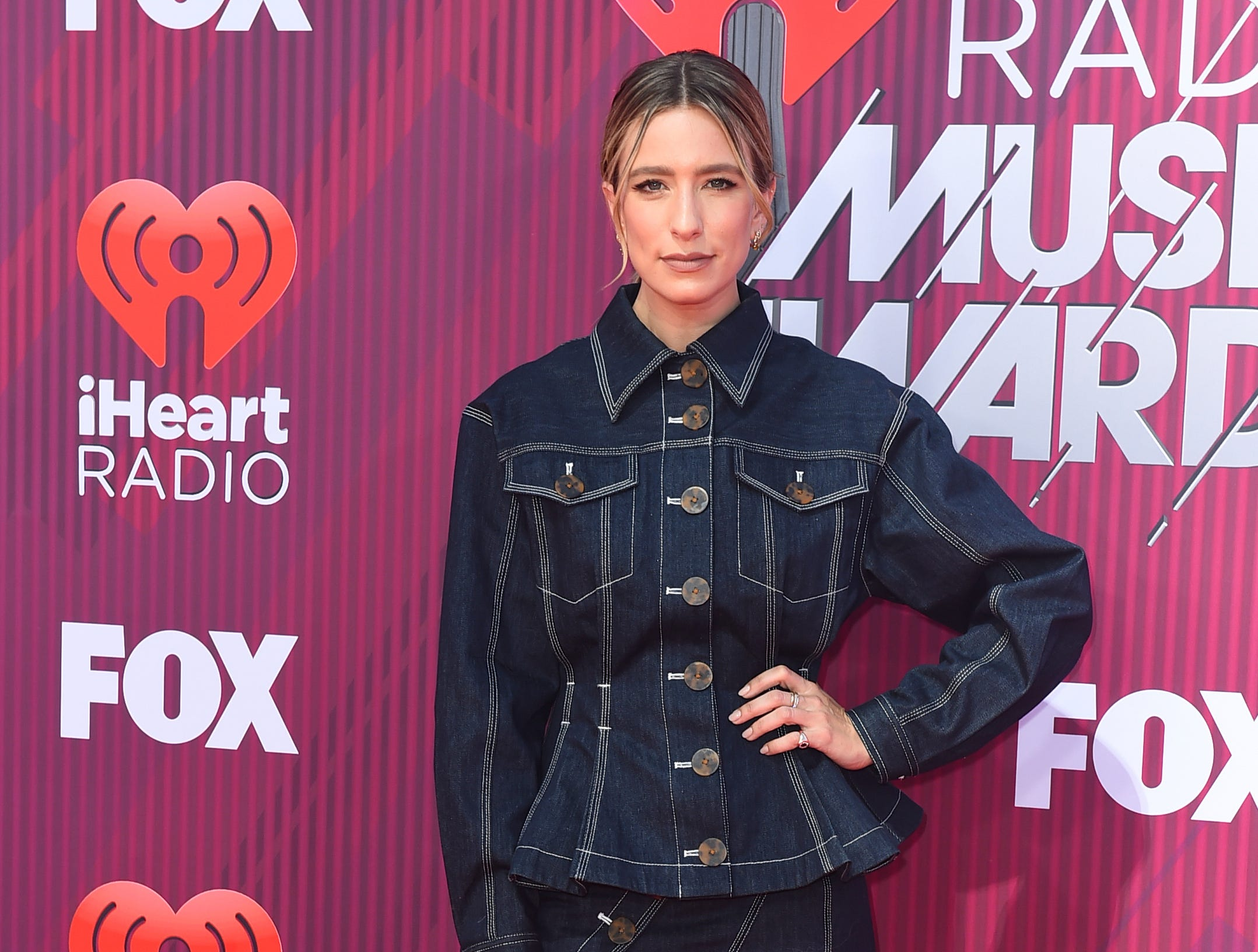 Renee Bargh arrives at the iHeartRadio Music Awards.