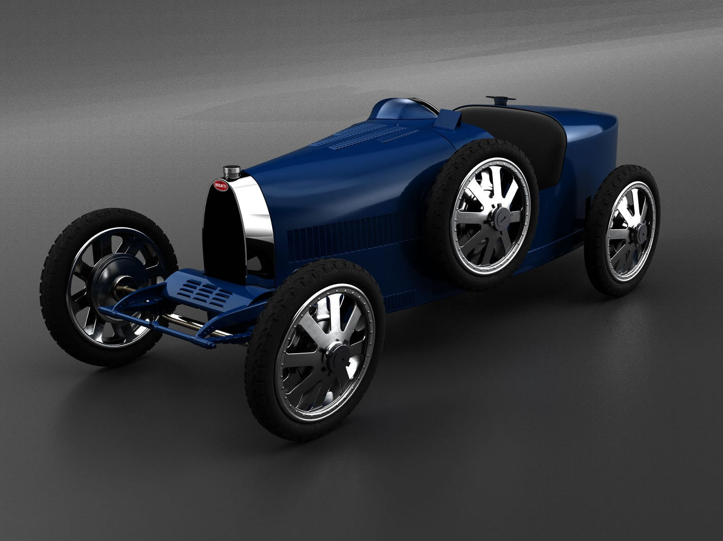 The Bugatti Baby II is styled after the Type 35 roadster, from a precision scan of the original.