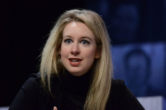 "Elizabeth Holmes, speaking at a ""Forbes Under 30"" summit in Philadelphia in 2015."