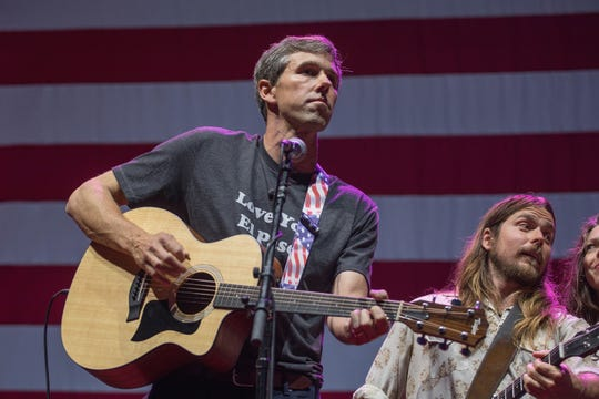 Beto O'Rourke and Lukas Nelson perform onstage with Willie Nelson and Family during the 45th Annual Willie Nelson 4th of July Picnic at Austin360 Amphitheater on July 4, 2018 in Austin, Texas.