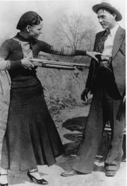 Bandits Bonnie Parker and Clyde Barrow are seen in an undated photo.